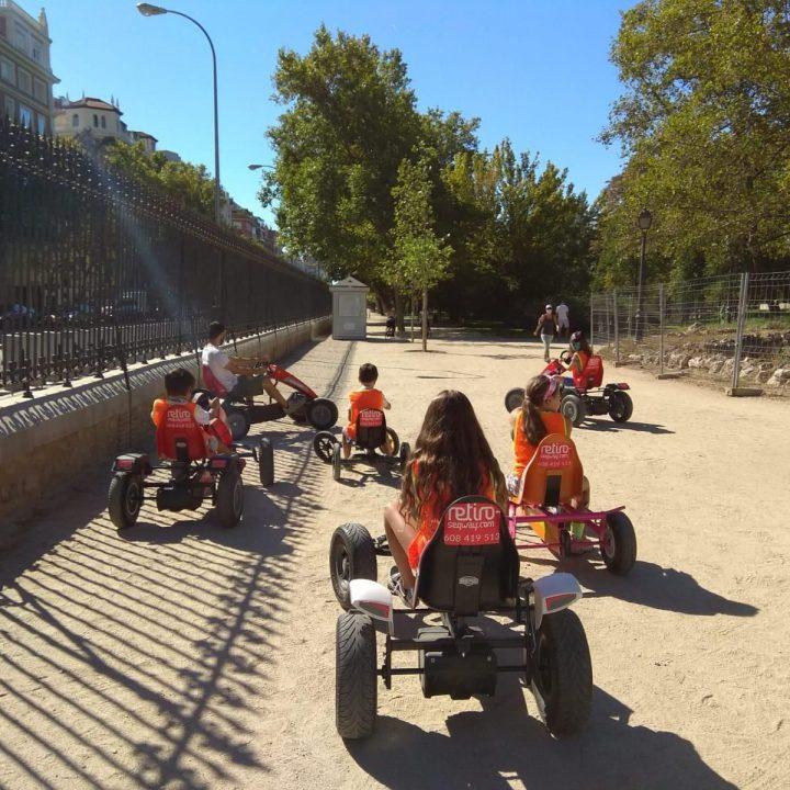 Segway + karts a pedales para niños en el Parque del Retiro en Madrid centro